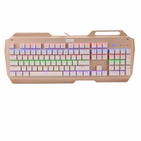 K320 104 Keys Multi Color LED Light Mechanical Keyboard With Outemu Blue Switches White Gold Gamer