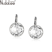 Nidalee 2016 White Bella Crystal Earrings For Women Real Crystal From SWAROVSKI Fashion Stud Earrings Party Jewelry Accessories