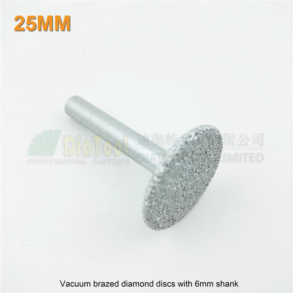 DIATOOL Dia 25mm Mini Vacuum Brazed Diamond Discs 6mm Shank Cutting Grinding Carving Granite Marble Stone Diamond Saw Blade Disc