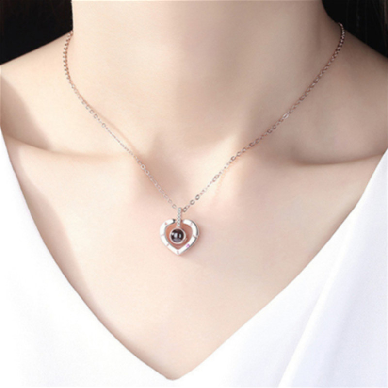 Romantic Love Memory Wedding Necklace Rose Gold Silver 100 languages I love you Projection Pendant Necklace in Pendant Necklaces from Jewelry Accessories
