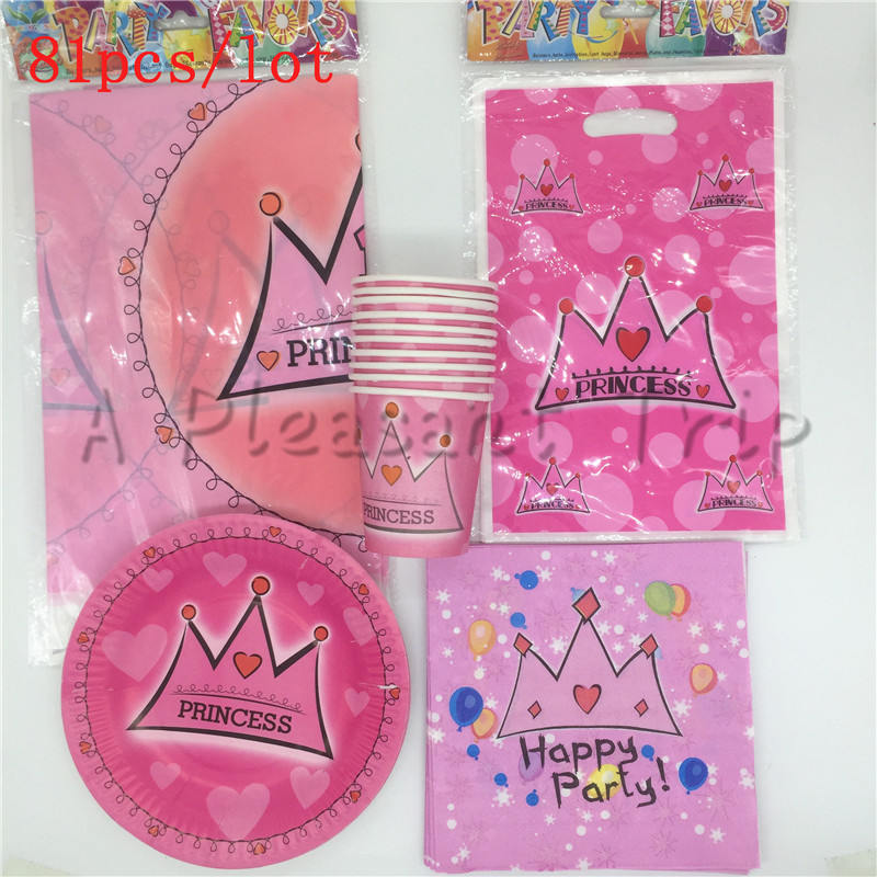 81pcs / lot Cartoon Pink Crown Theme Child Birthday Decoration Table Cloth Cup Napkin Gift Bag Party Supplies for 10 kids