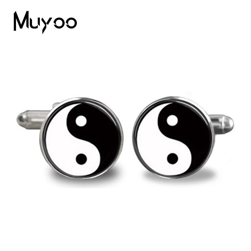 2017 mode handgemachte manschettenknopf yin yang glas persönlichkeit - Modeschmuck - Foto 1