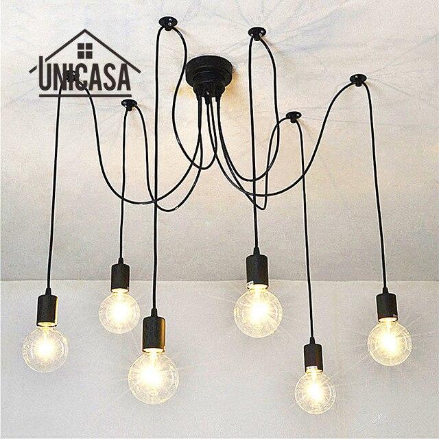 6 E27 bombillas titular Lámparas colgantes Iluminación industrial ...