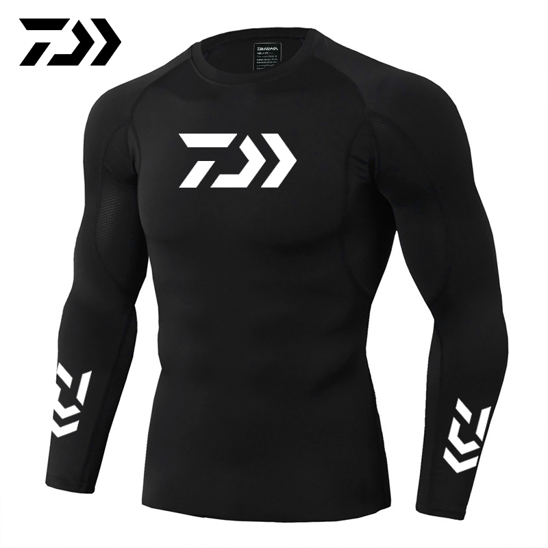 2019 New Daiwa Fishing Shirt Outdoor Sports Wear Tshirt Patchwork Fitness Body Shirt Anti-mosquito Breathable Fishing Tshirt