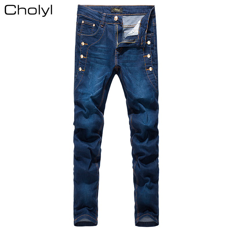 Jeans Men 2017 New Fashion Korean Style High Street Slim Fit Button Personality Vintage Classical Denim blue Pants  Trousers