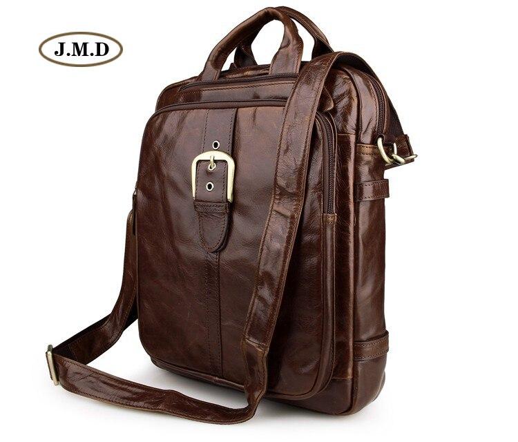 J.M.D Brand Top Quality Unisex Genuine Vintage Leather Backpack Fashion Causal Shoulder Bag Travel Bag Laptop Rucksack 7279C