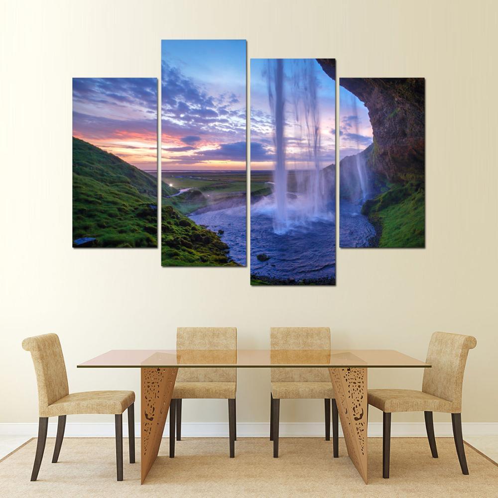 4 Panel Gerahmte kunst island blue lagoon Gedruckt Bemalte Leinwand ...