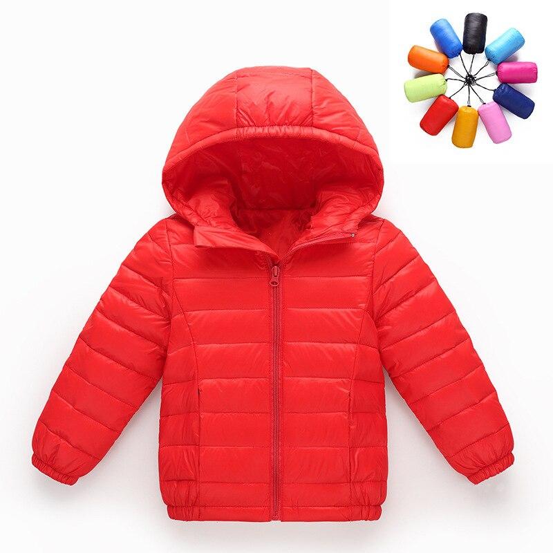 От 2 до 10 лет Light 90% утка пуховик Детская верхняя одежда для мальчиков и девочек осень теплое пальто с капюшоном Подростковая парка детские зи...
