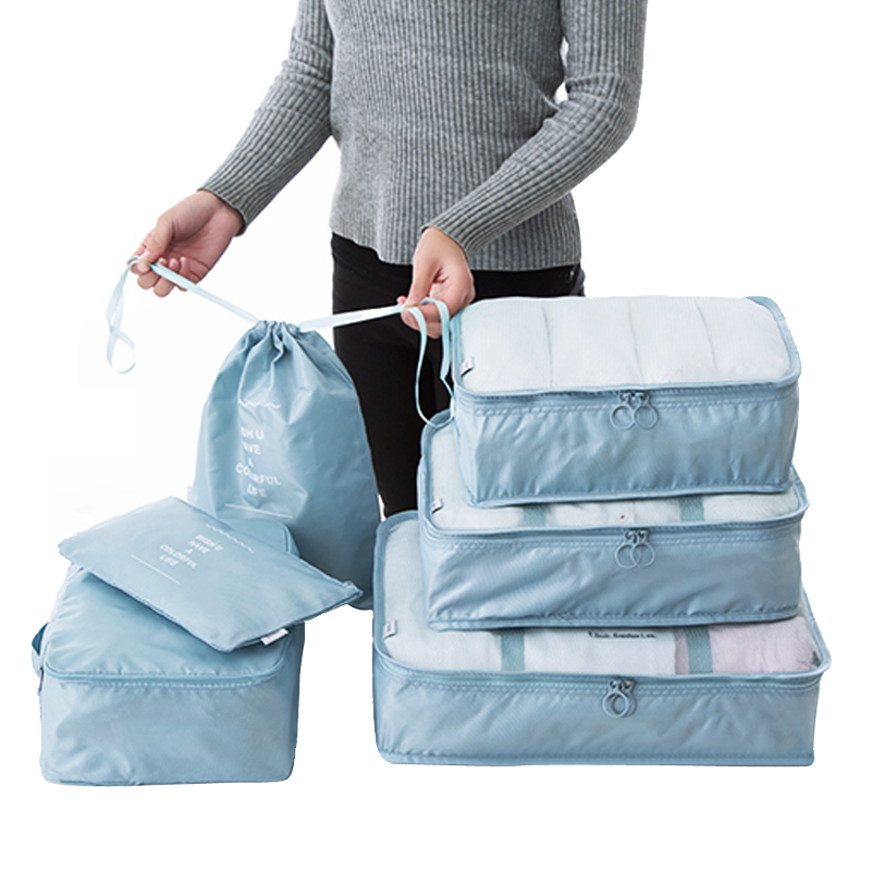 6PCS/Set Polyester Packing Cube Luggage Clothes Packing Organizer Travel Bag For Men Women Large Capacity Durable Waterproof 141