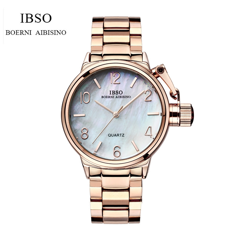 IBSO Fashion Female Luxury Analog Quartz Watch Stainless Steel Women Wrist Watch Relogio Feminino IB12 fashion geneva watch women watches stainless steel analog quartz wrist watch female clock relogio feminino luxury brand new
