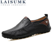 LAISUMK High Quality Thick Soled Loafers Driving Shoes Men Genuine Leather Flats Casual Slip On Fashion Breathable Sneakers alligator genuine leather men shoes casual breathable men loafers slip on high quality