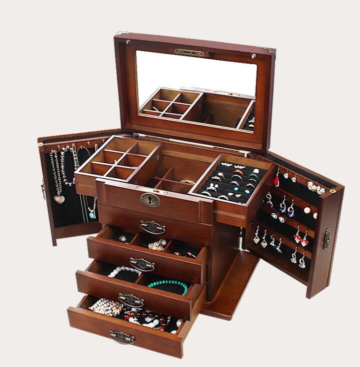 Boîte à bijoux avec serrure vraie princesse en bois européenne rétro multifonctionnel collection boîte de mariage boîte-cadeau boîte de rangement organisateur