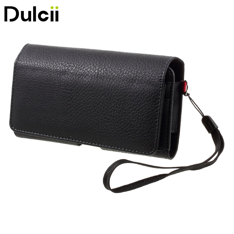 PU Leather Holster Case Dual-layer Coin/Card Slots Pouch for iPhone X for Samsung S9 S8 - Inner Size Approx. 147mm x 73mm x 10mm