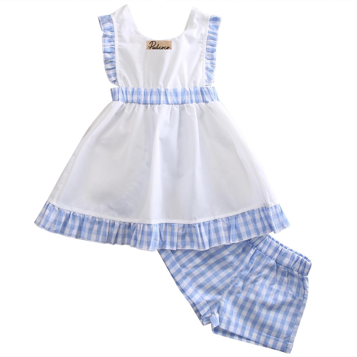 Summer Cotton Plaid Toddler Kids Girls Sleeveless Plaid Sundress Shorts Summer Dress Outfits 2-7Yrs