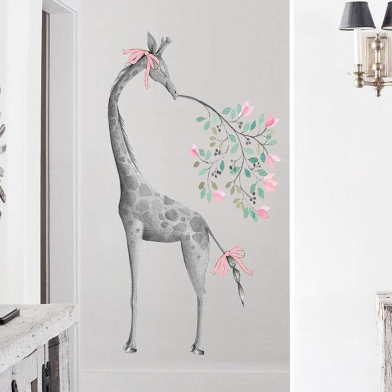 Giraffe Plant Leaves Wall Stickers Living Room Entrance Hall Beautiful Decoration Lovely Kids 3