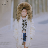 2017 Winter New Children Real Rabbit Fur Coat Kids Girls Warm Solid Natural Raccoon fur collar Coat Outerwear jacket