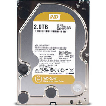 Western Digital WD Gold 2TB Enterprise Class Hard Disk Drive 7200 RPM Class SATA 6 Gb/s 128MB Cache 3.5 Inch WD2005FBYZ