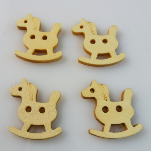 100PCS 15*18MM wood Horse cartoons buttons coat boots sewing clothes accessories WCB-028