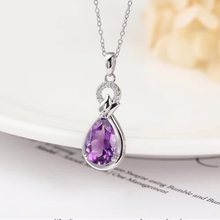 gemstone fine jewelry wholesale luxury trendy 925 sterling silver natural purple amethyst crystal pendant necklace for women natural pink stone pendant s925 silver natural gemstone pendant necklace trendy elegant cute crown women party fine jewelry