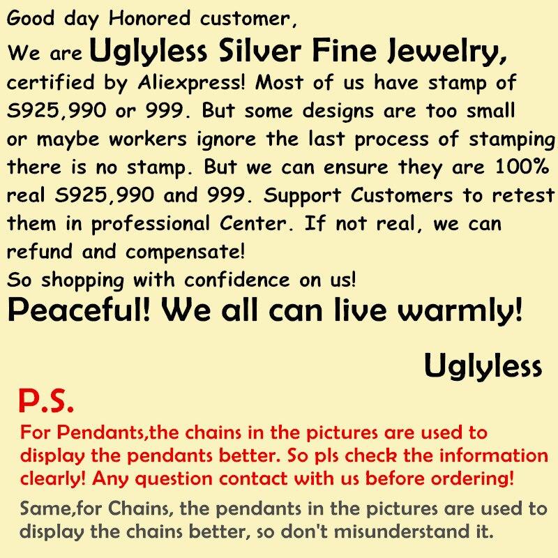 Uglyless 100% réel 925 argent Sterling indien chef pendentif colliers pas de chaîne à la main plumes pendentif exotique bijoux fins - 6