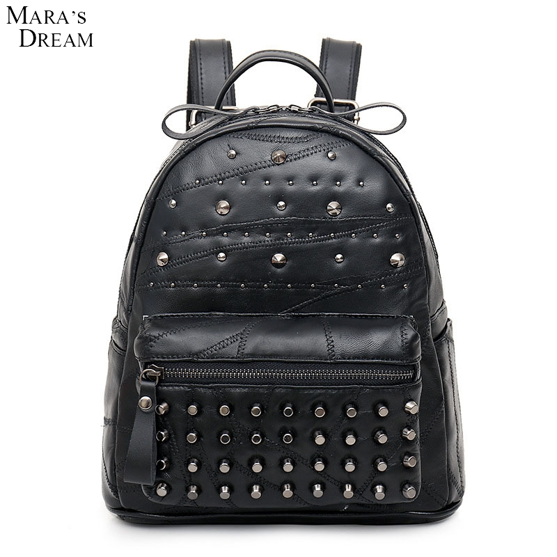Mara s Dream Women Backpacks Washed Leather Backpacks Lady Girls Travel Women Bags Rivet Backpacks Student