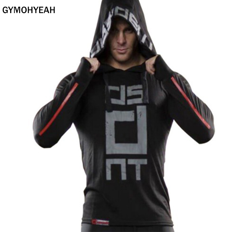 GYMOHYEAH 2018 New Brand Mens Hoodies Sweatshirts Men Slim Sweatshirts Red Black white Hoody Blue Navy Casual hoodie