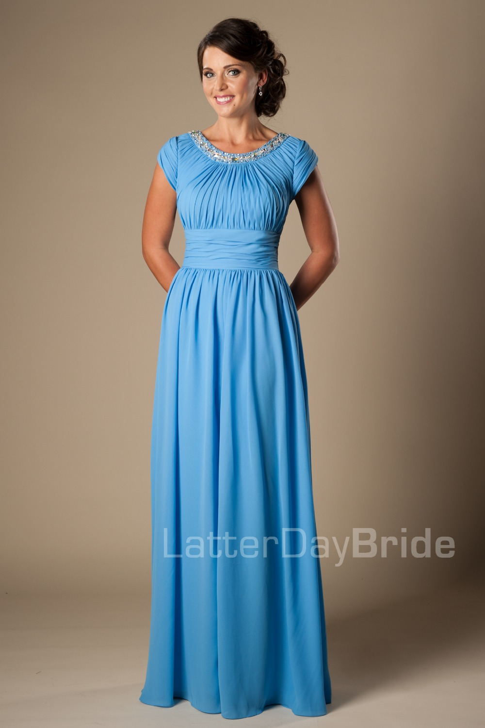 Maxi blue long full length modest chiffon bridesmaid for Long blue dress for wedding