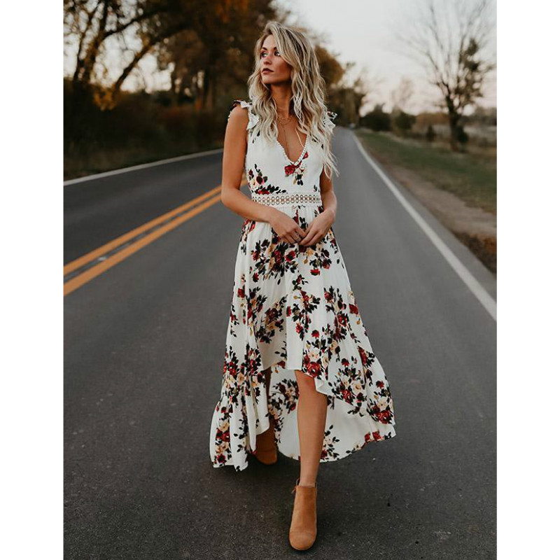 Summer Elegant Women floral print maxi dress Sexy deep V neck backless dress Hollow out irregular long dress