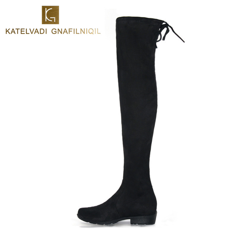 New Women Winter Boots Stretch Slim Over Knee Boots With Plush Black Thigh High Boots Shoes Woman Round Toe Winter Boots Black top selling 2017 winter new stretch