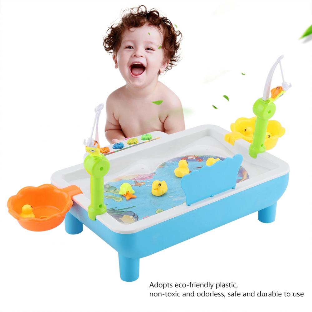 Kids Fishing Toys Set Magnetic Play Water Baby Toys Electric Fish Pond Game Toy Baby Bath Toy Fishing Game  Indoor Outdoor Fun Рыбная ловля