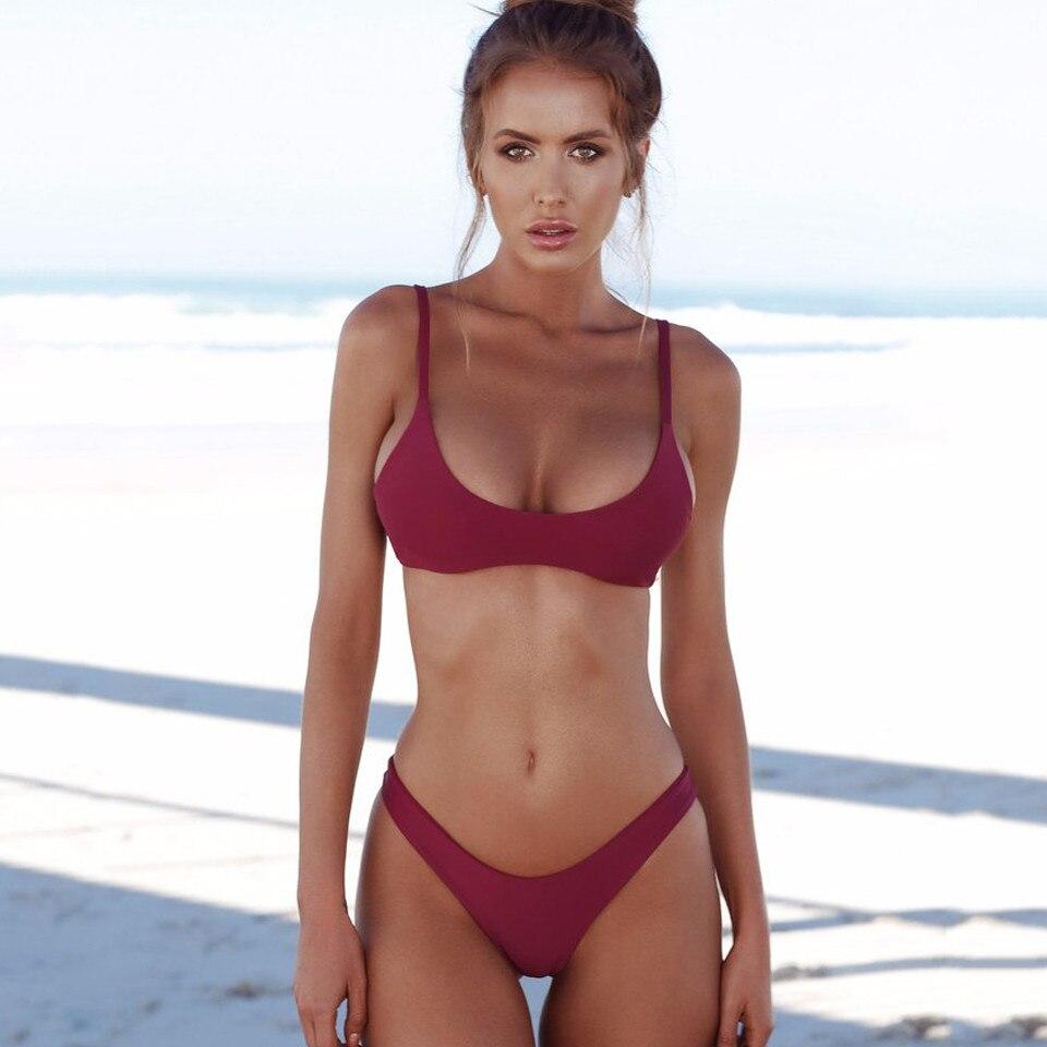 Sexy Thong Bikini 2019 plus size Swimwear Women Brazilian Bikini Set Push Up Swimsuit Solid Beachwear Bathing Suit Biquini XXL-3