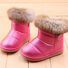 Wholesale 2016 Children's NEW Real Rabbit Fur Ankle Snow Boots EU21-30 Kids Shoes Girls Boots Warm Plush Waterproof Winter Soft