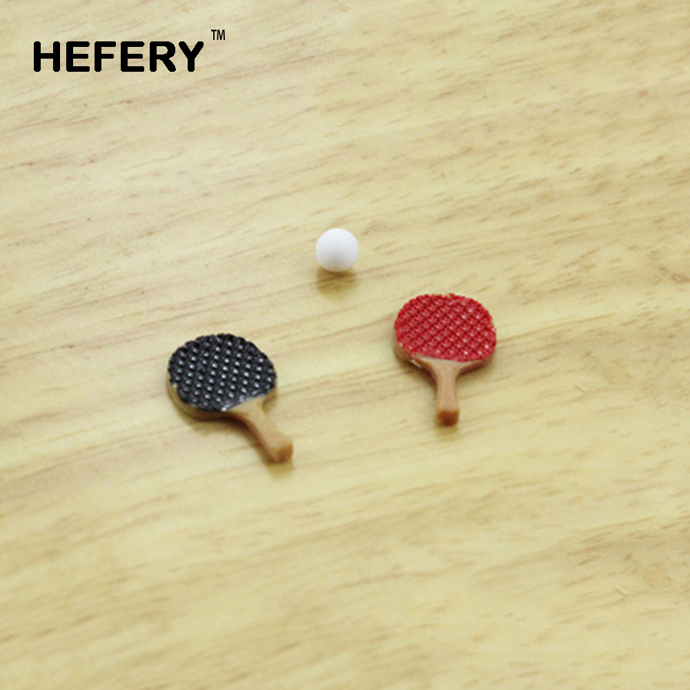 1/12 Dollhouse Miniature Accessories Mini Table Tennis Racket with Ball Simulation Furniture Ping-pong Toys for Doll House Decor