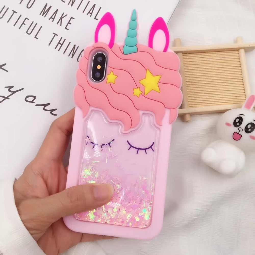 3D Glitter Cute Unicorn Rubber Case For