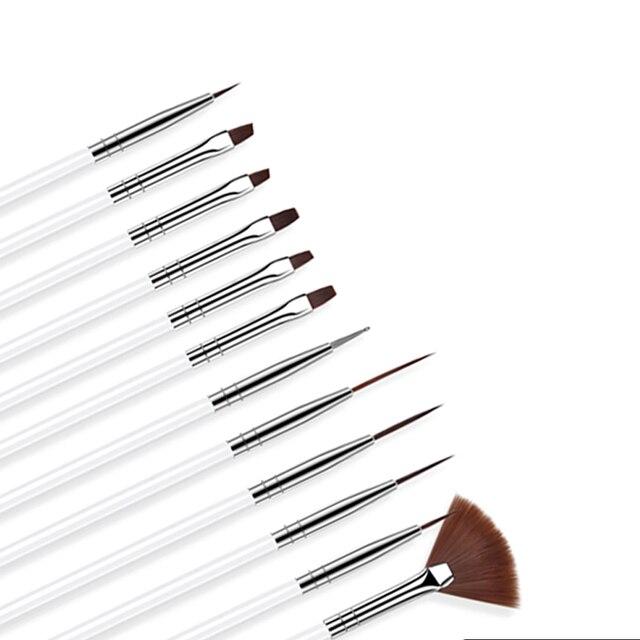 ROHWXY 12 PCS Acrylic Brush Nail Art Brush Carving Flower Nail Gel Pen UV Gel Drawing Painting Brush Handle Nail Art Tools 2