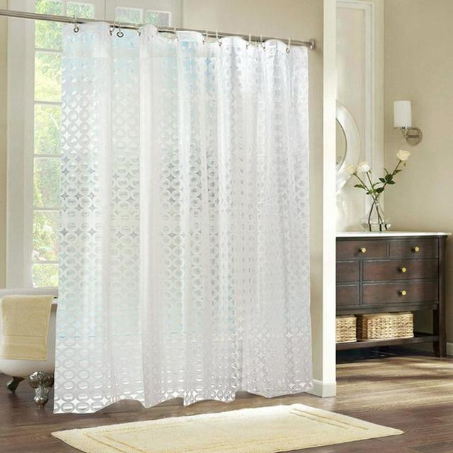 180180CM EVA 3D Water Cube Thicken Shower Curtains Semi Transparent Clear Waterproof Luxury Bath Curtain With 12pcs Hooks