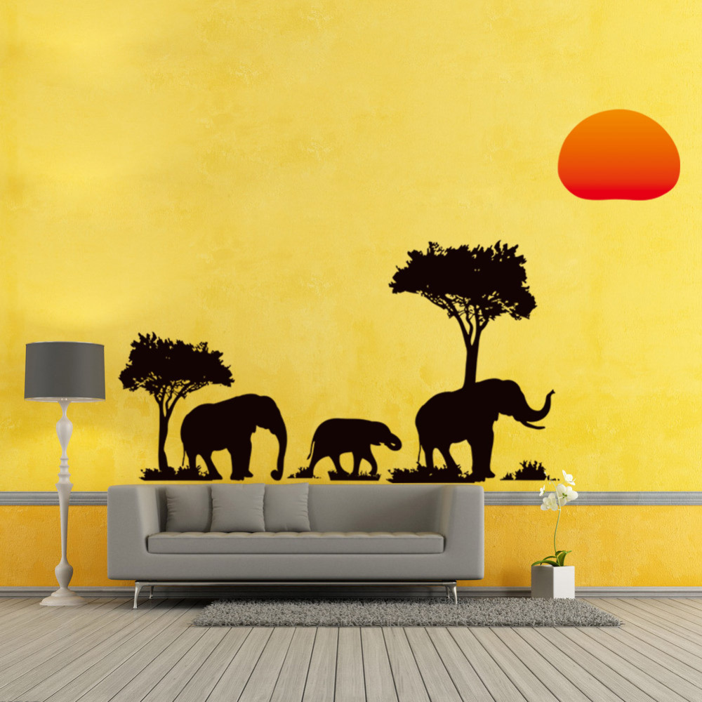 Jungle Wild Cartoon Tree Elephant Sun Prairie Removable Decal Home ...