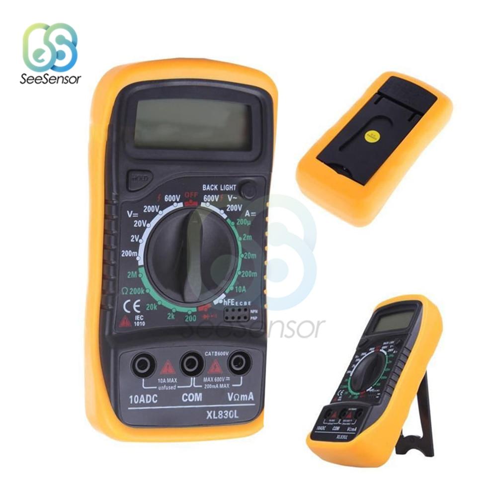 XL830L Portable LCD Digital Multimeter Backlight AC/DC Ammeter Voltmeter Ohm Tester Meter Handheld