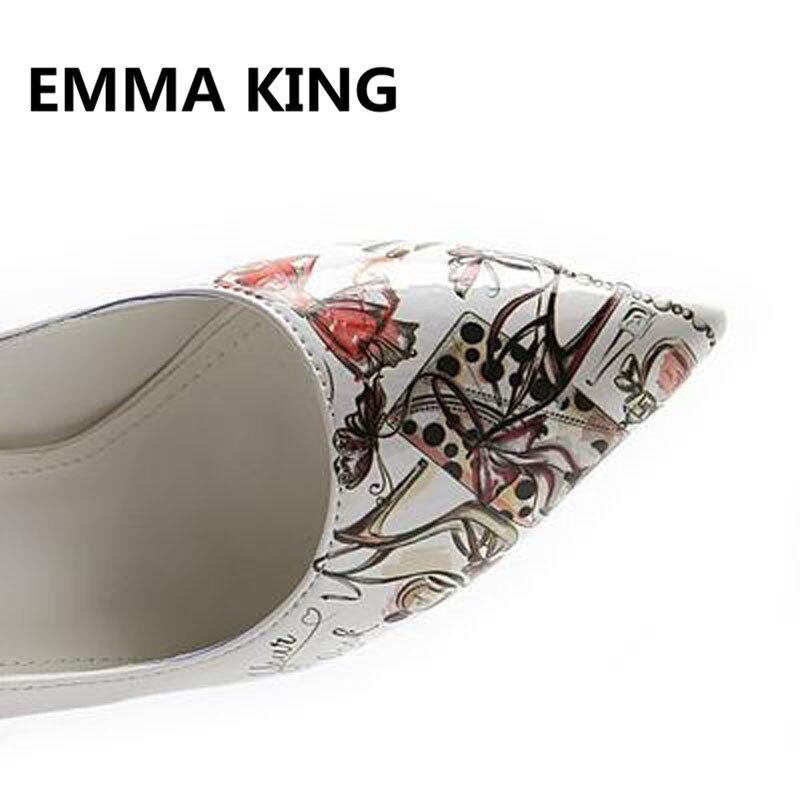 2019 г., женские туфли лодочки с принтом граффити, пикантные женские туфли из лакированной кожи на высоком каблуке с острым носком, белые туфли на шпильке, элегантная женская обувь - 6