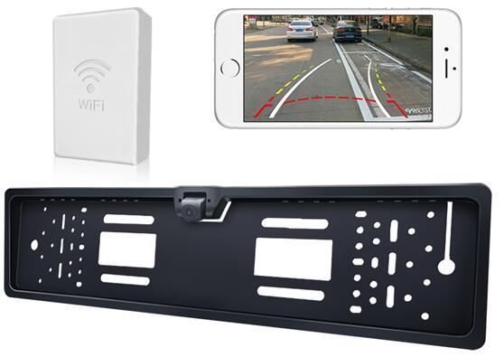 камера заднего вида автомобиля камера WiFi Европейский номерного знака+беспроводной передатчик видео камеры дисплей поддержка LCD/DVD в Android приложение
