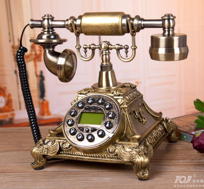 Europe Fashion Grade Office Resin Bronze Antique Telephones Hotels Phone Vintage Telephone Handsfree Blue screen Caller
