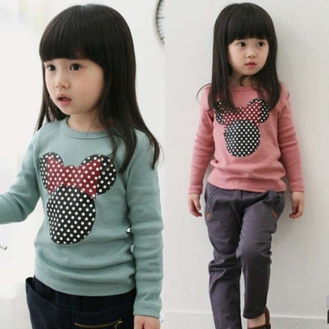 2016 Cartoon mouse Long Sleeve Baby Girls Toddler shirt children girl top korean kids clothes toddler girl clothing next