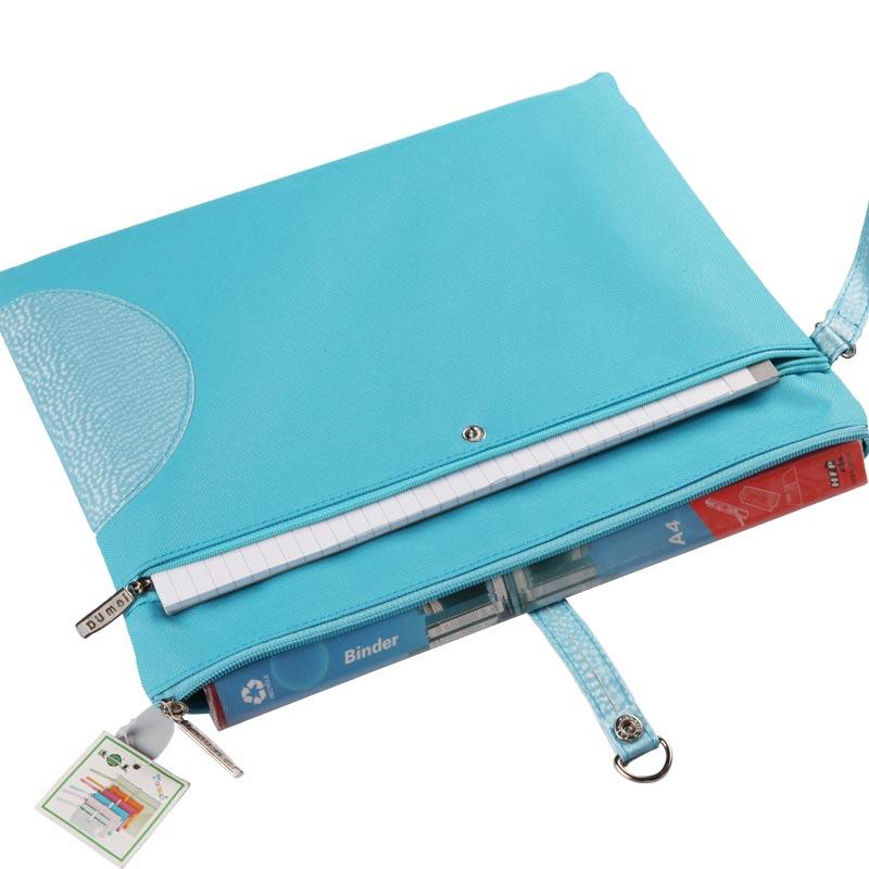 Dumei A4 B6 A5 de doble cubierta Snap portátil bolso del documento del archivo de bolsillo con cremallera doble material escolar oficina NF-633