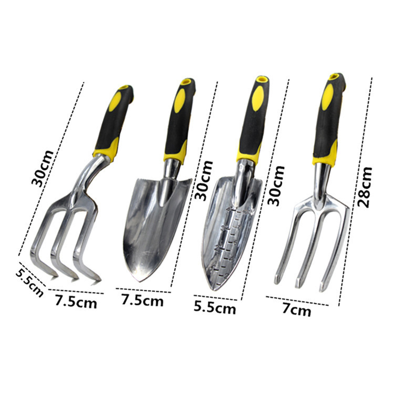 Купить с кэшбэком GHIXACTO Gardening Tools Set Combination Flower Planting Shovel Spade Rake Fork Garden Plastic Handle Four-piece Shovel Set