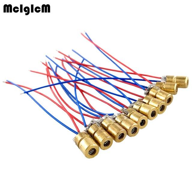 "MCIGICM לייזר דיודה 100 pcs 650nm 6 מ""מ 5 V 5 mW מתכוונן לייזר דיודה דוט מודול האדום נחושת ראש 3 v"