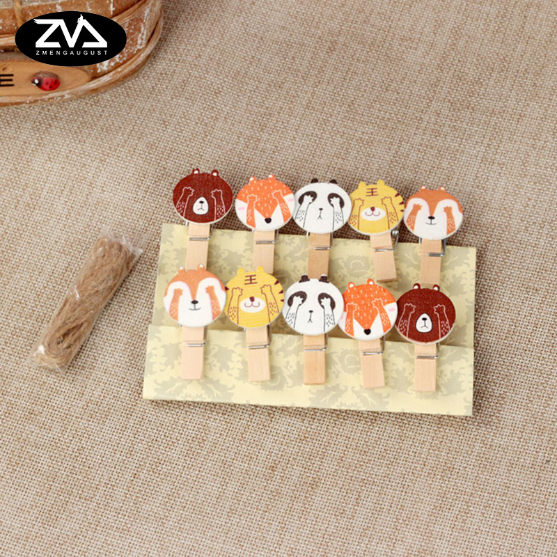 10 Pcs/lot Kawaii Cartoon Animals Wood Clip Photo Paper Clothespin Craft Clips Party Decoration Clip With Hemp Rope