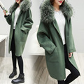 Gola de Pele de inverno Mulheres Blusão de Lã Casaco de Lã Cashmere Casaco de Inverno Casaco longo casaco de lã Das Mulheres do Sexo Feminino coreano moda