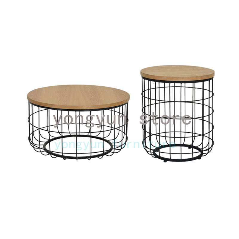 Us 268 0 Home Furniture Minimalist Modern Design Wood And Gold Metal Round Tea Table Living Room Side Coffee D50cm D80cm In