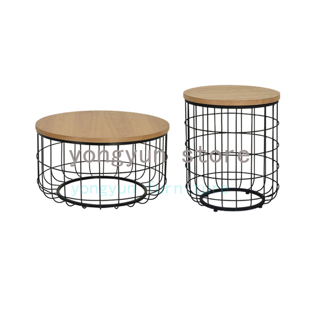 Home Furniture Minimalist Modern Design Wood And Gold Metal Round Tea Table Living Room Side