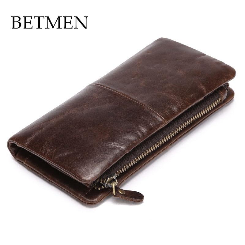 BETMEN Luxury Vintage Genuine Leather Wallet Long Men Wallets Casual Purse Brand dino ricci dino ricci di004awhwn84